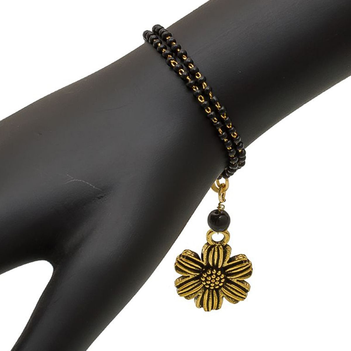 Dazzling Golden & Black Colored Mix Metal Bracelet Cum Bangle