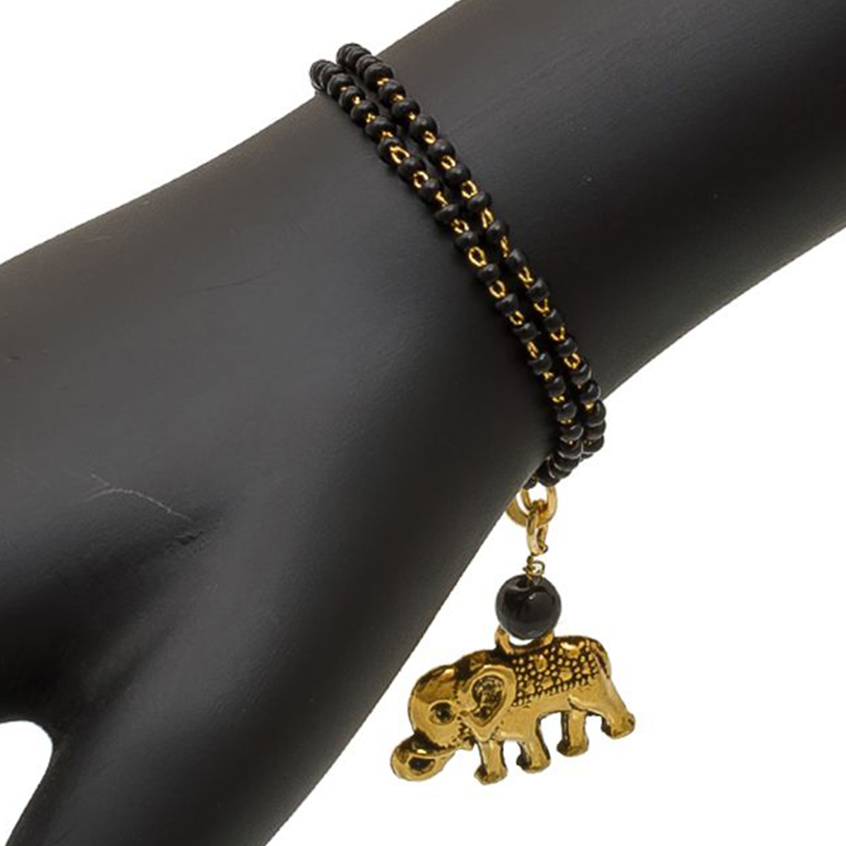 Opulent Golden & Black Colored Mix Metal Bracelet Cum Bangle