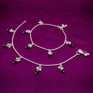 Blissful Silver Colored Mix Metal Anklet Set
