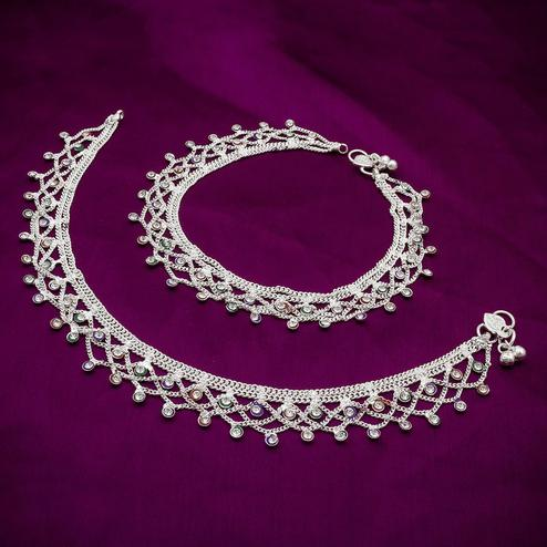 Pleasant Silver Colored Mix Metal Anklet Set
