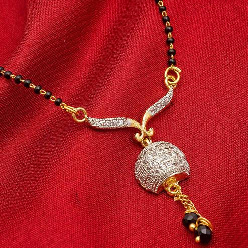 Hypnotic Golden Colored Mix Metal & Diamond Work Mangalsutra