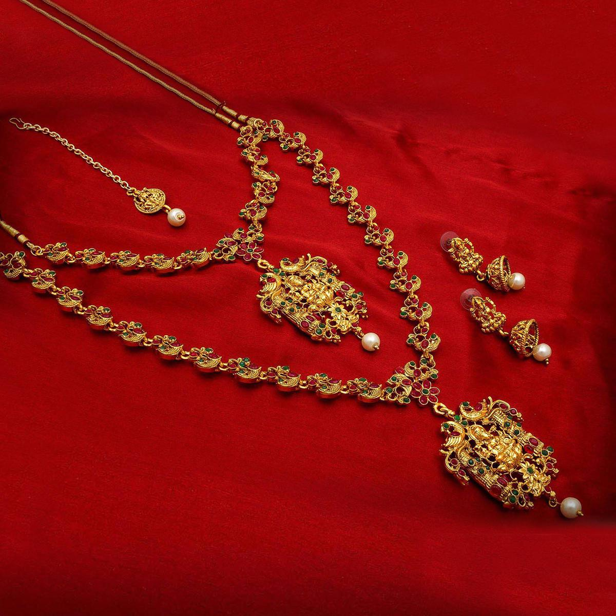 Preferable Golden Colored Mix Metal & Stone Work Double Necklace Set