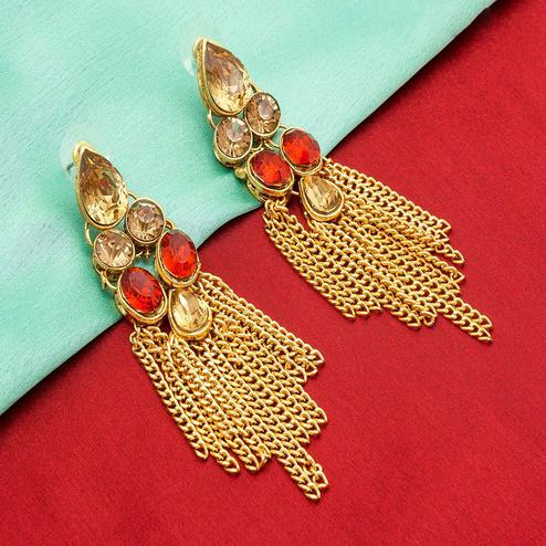Gleaming Golden Colored Mix Metal & Stone Work Earrings Set