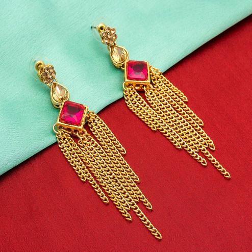 Arresting Golden Colored Mix Metal & Stone Work Earrings Set