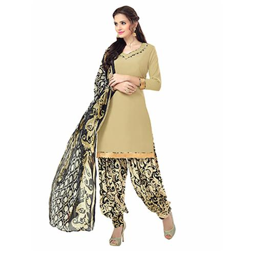 Lovely Beige Printed American Crepe Dress Material