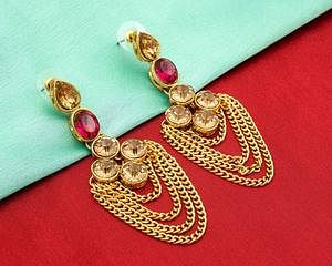 Ethnic Golden Colored Mix Metal & Stone Work Earrings Set