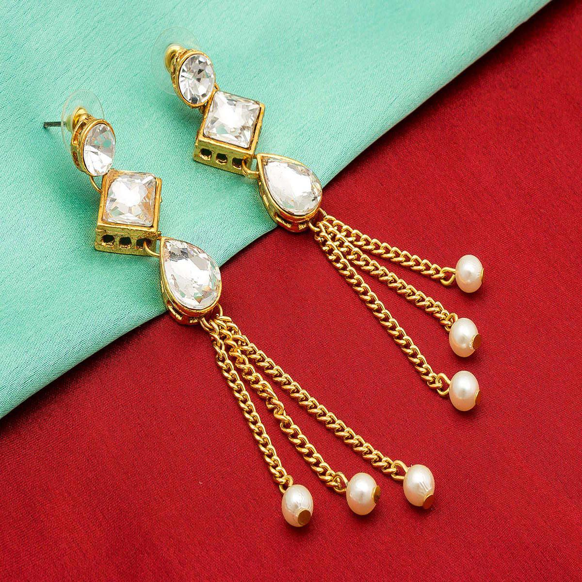 Starring Golden Colored Mix Metal & Stone Work Earrings Set