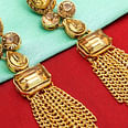 Imposing Golden Colored Mix Metal & Stone Work Earrings Set
