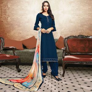 Adorable Navy Blue Colored Party Wear Resham Embroidered Satin Dress Material