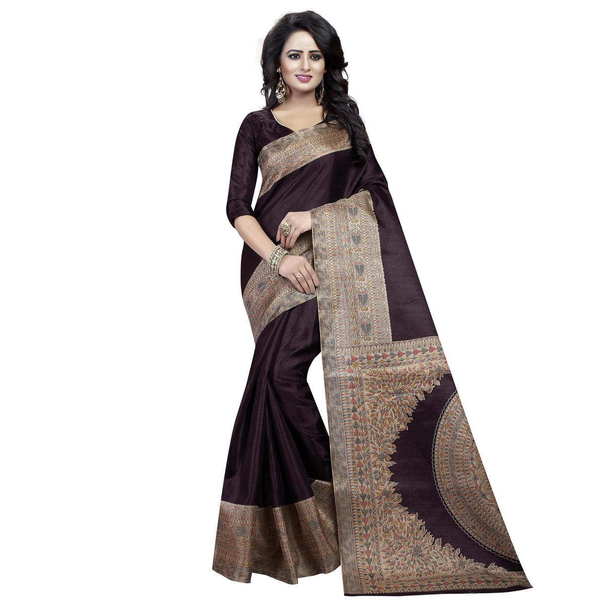 Coffee Brown Kalamkari Print Bhagalpuri Silk Saree