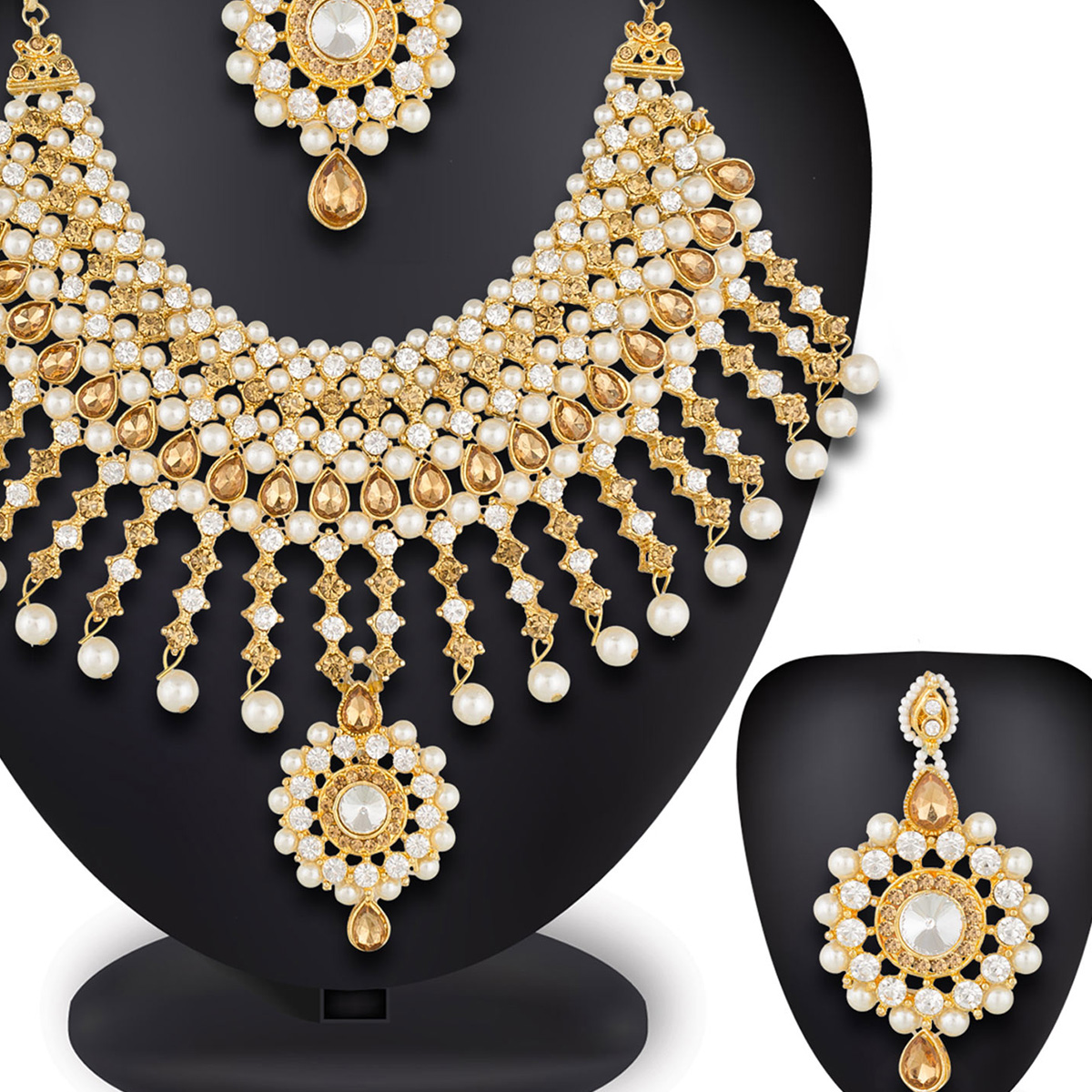 Staring Golden Colored Mix Metal & Stone Work Necklace Set