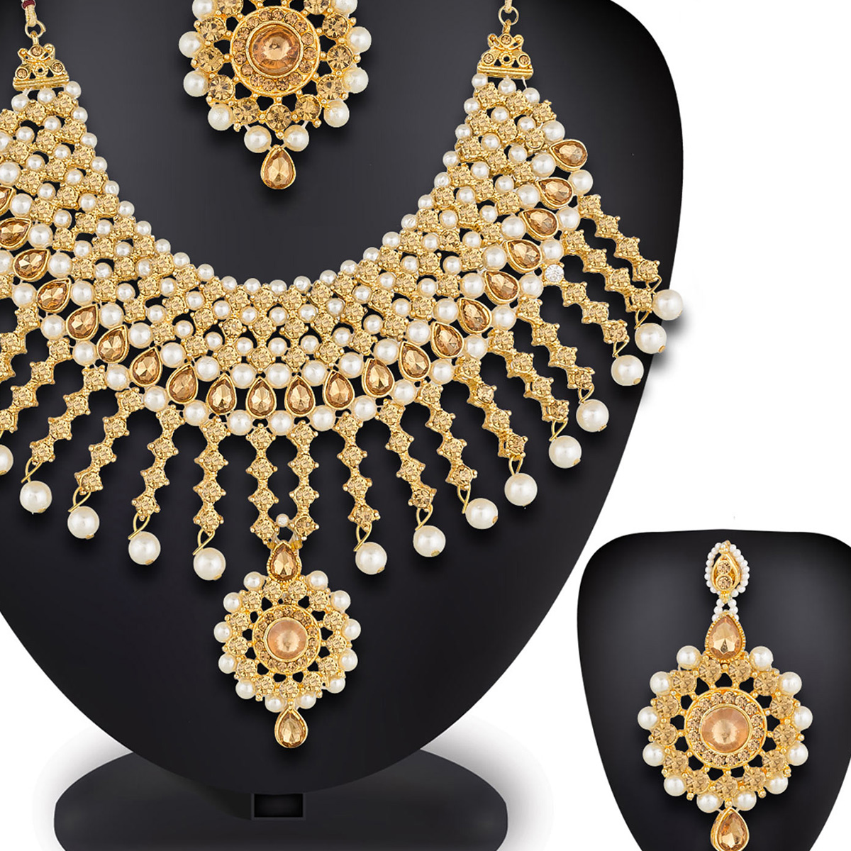 Pleasance Golden Colored Mix Metal & Stone Work Necklace Set