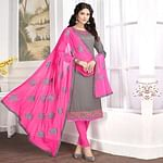 Trendy Gray Colored Partywear Embroidered Cotton Suit