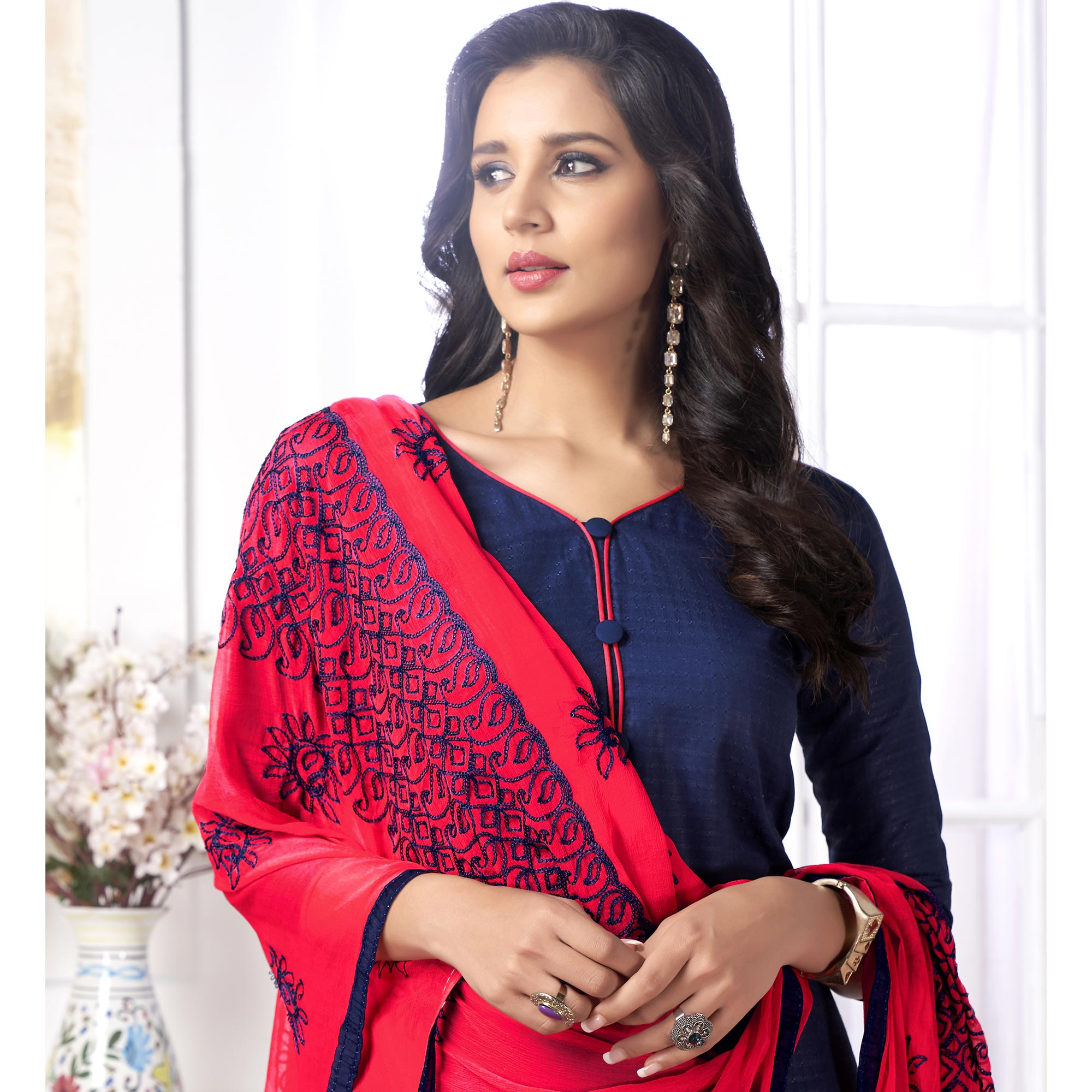 Glowing Navy Blue Colored Partywear Embroidered Cotton Suit