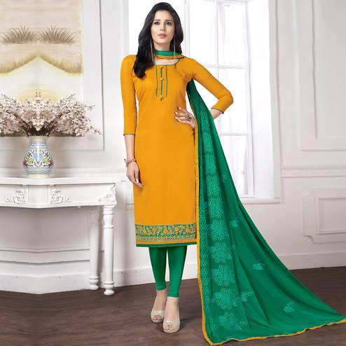 Beautiful Yellow Color Partywear Embroidered Cotton Suit