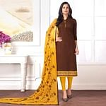 Adorning Brown Colored Partywear Embroidered Cotton Suit