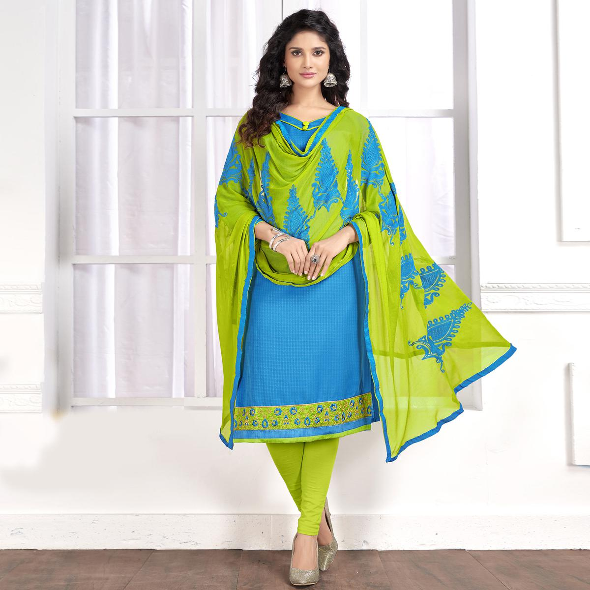 Stylish Sky Blue Colored Partywear Embroidered Cotton Suit