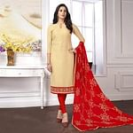 Pleasant Beige Colored Partywear Embroidered Cotton Suit