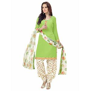 Graceful Green Printed American Crepe Dress Material