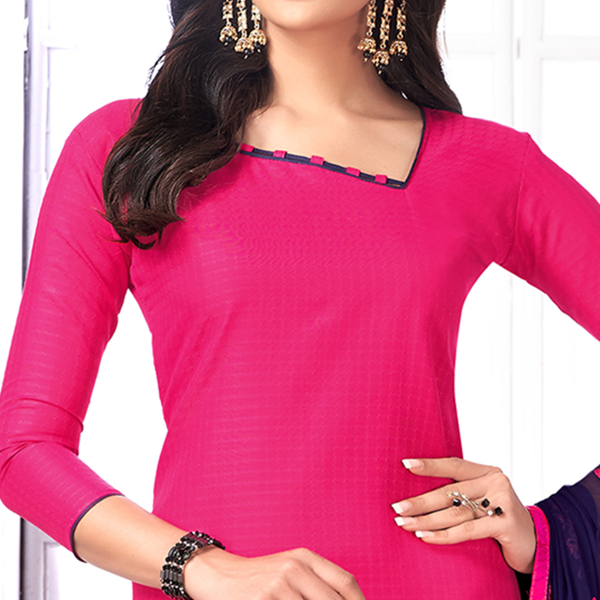 Charming Pink Colored Partywear Embroidered Cotton Suit