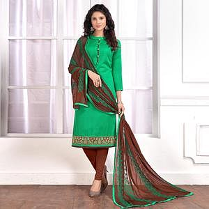 Fab Green Colored Partywear Embroidered Cotton Suit