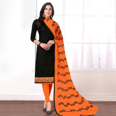 Flaunt Black Colored Partywear Embroidered Cotton Suit