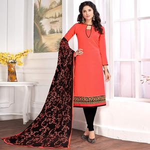 Pretty Peach Colored Partywear Embroidered Cotton Suit