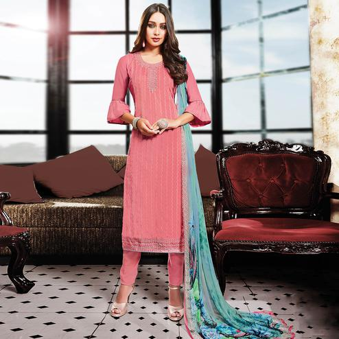 Attractive Pink Colored Party Wear Resham Embroidered Satin Dress Material