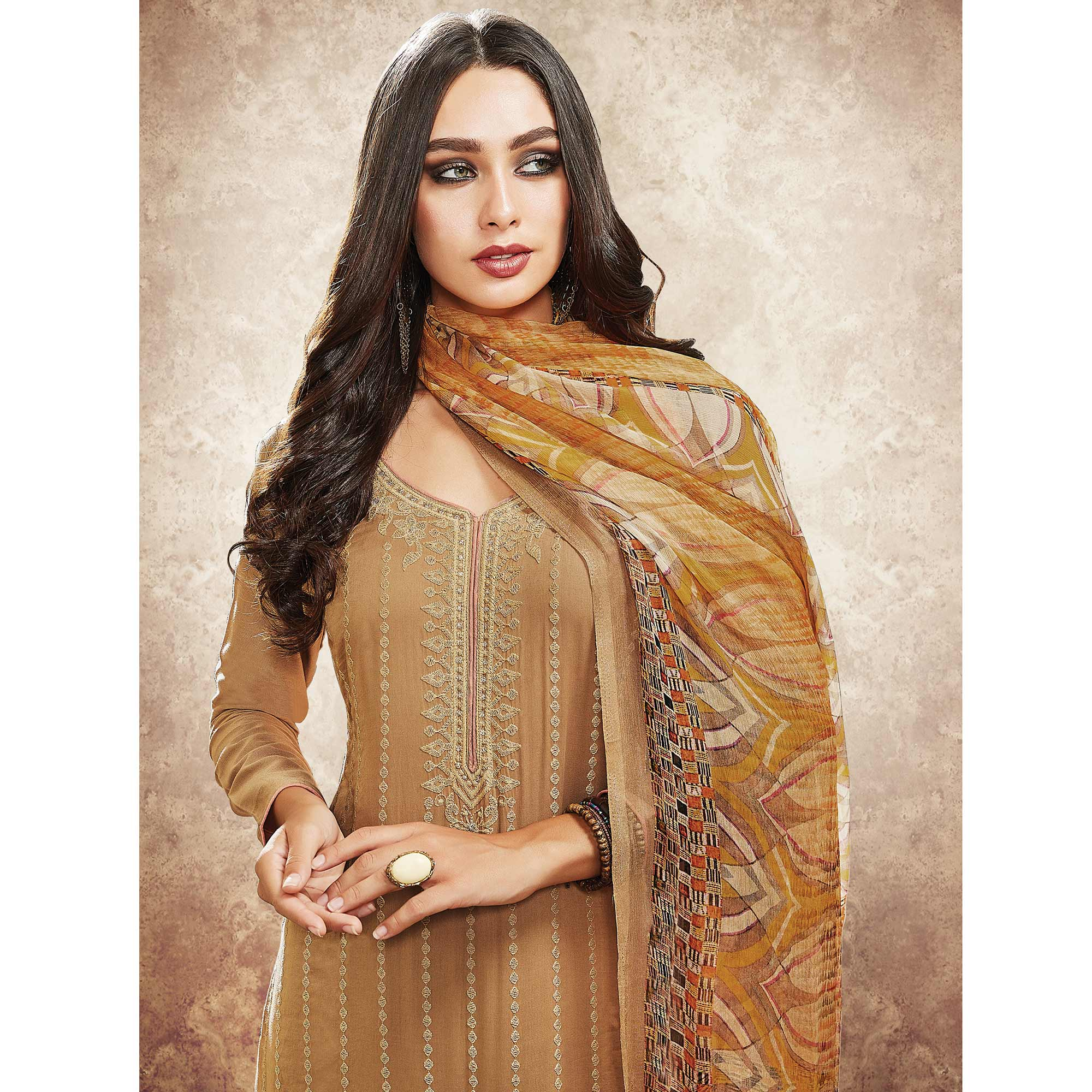 Beautiful Beige Colored Party Wear Resham Embroidered Satin Dress Material