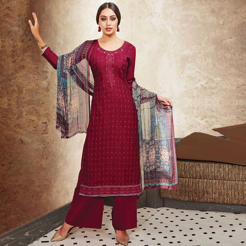 Gorgeous Maroon Colored Party Wear Resham Embroidered Satin Dress Material