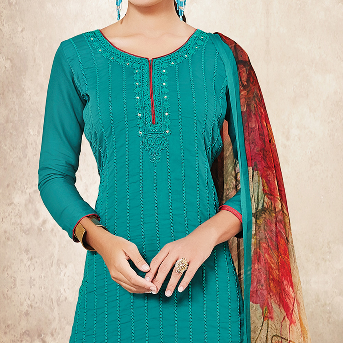 Classy Teal Blue Colored Party Wear Resham Embroidered Satin Dress Material