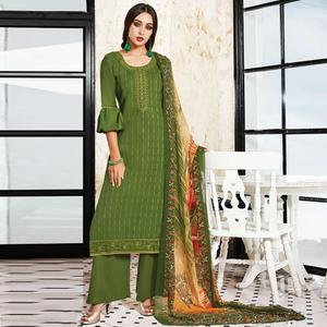 Glorious Green Colored Party Wear Resham Embroidered Satin Dress Material