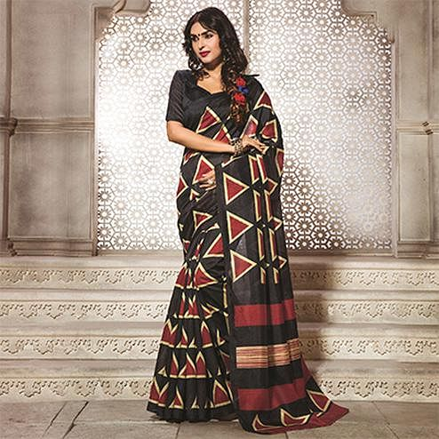 Black Geometric Print Bhagalpuri Saree