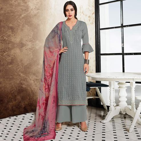 Graceful Grey Colored Party Wear Resham Embroidered Satin Dress Material