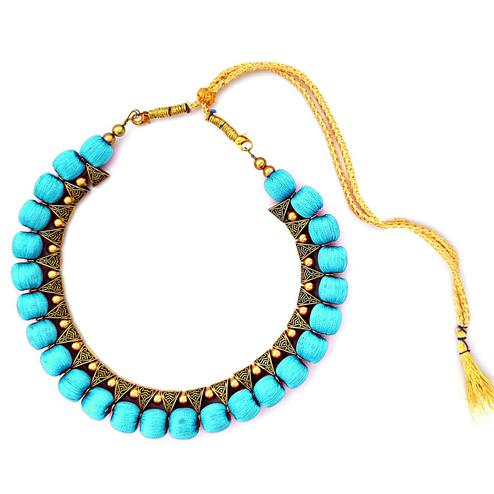 Beautiful Sky Blue Colored Fancy Silk Thread & Moti Work Necklace