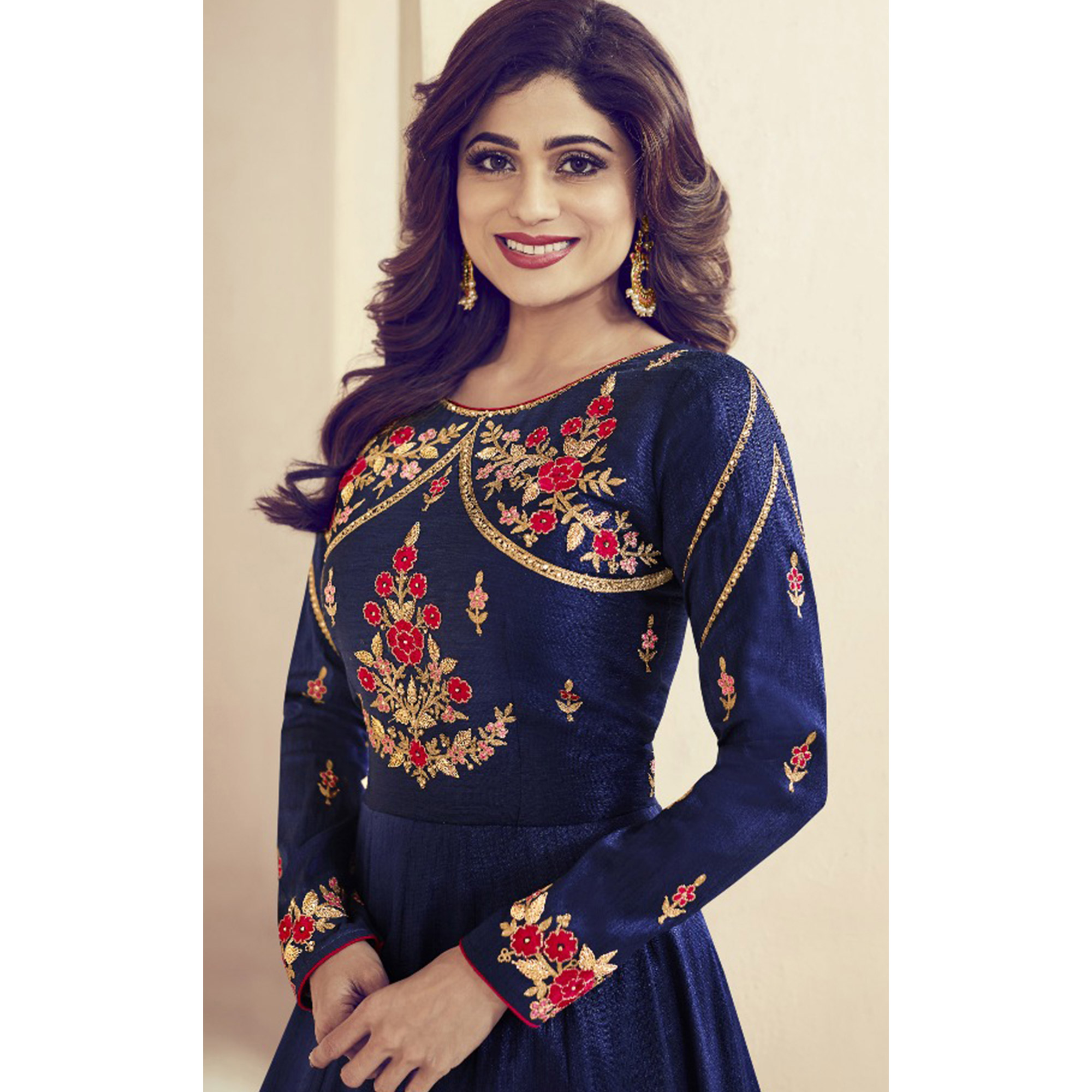 Adorable Blue Colored Party Wear Embroidered Silk Anarkali Suit
