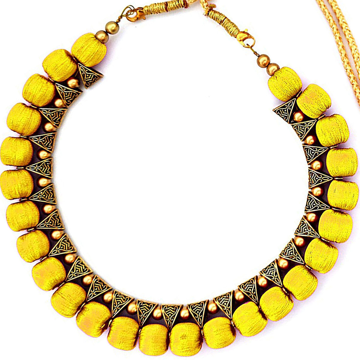 Gorgeous Yellow Colored Fancy Silk Thread & Moti Work Necklace