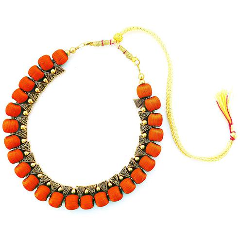 Classy Orange Colored Fancy Silk Thread & Moti Work Necklace