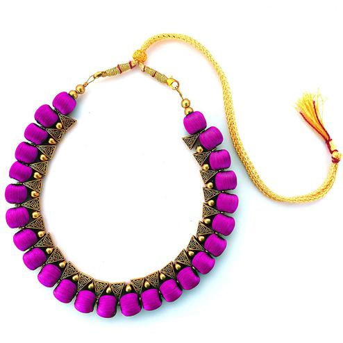 Glorious Purple Colored Fancy Silk Thread & Moti Work Necklace