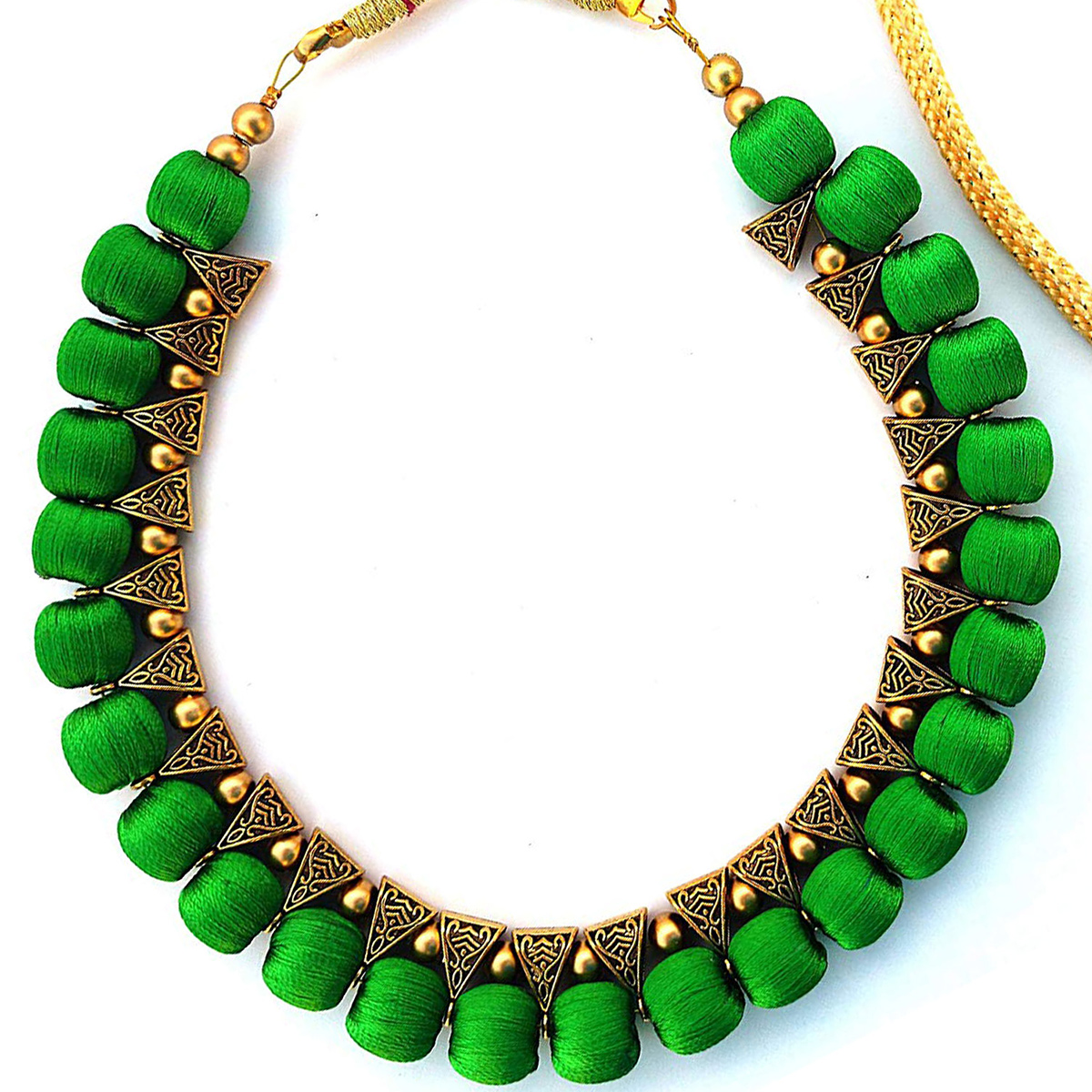 Graceful Green Colored Fancy Silk Thread & Moti Work Necklace