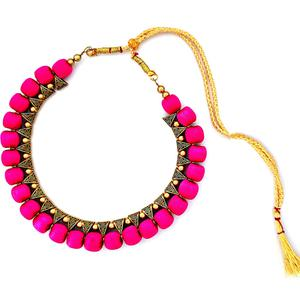 Lovely Deep Pink Colored Fancy Silk Thread & Moti Work Necklace