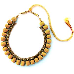 Charming Beige Colored Fancy Silk Thread & Moti Work Necklace