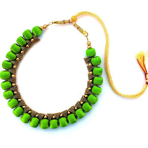 Ravishing Bright Green Colored Fancy Silk Thread & Moti Work Necklace