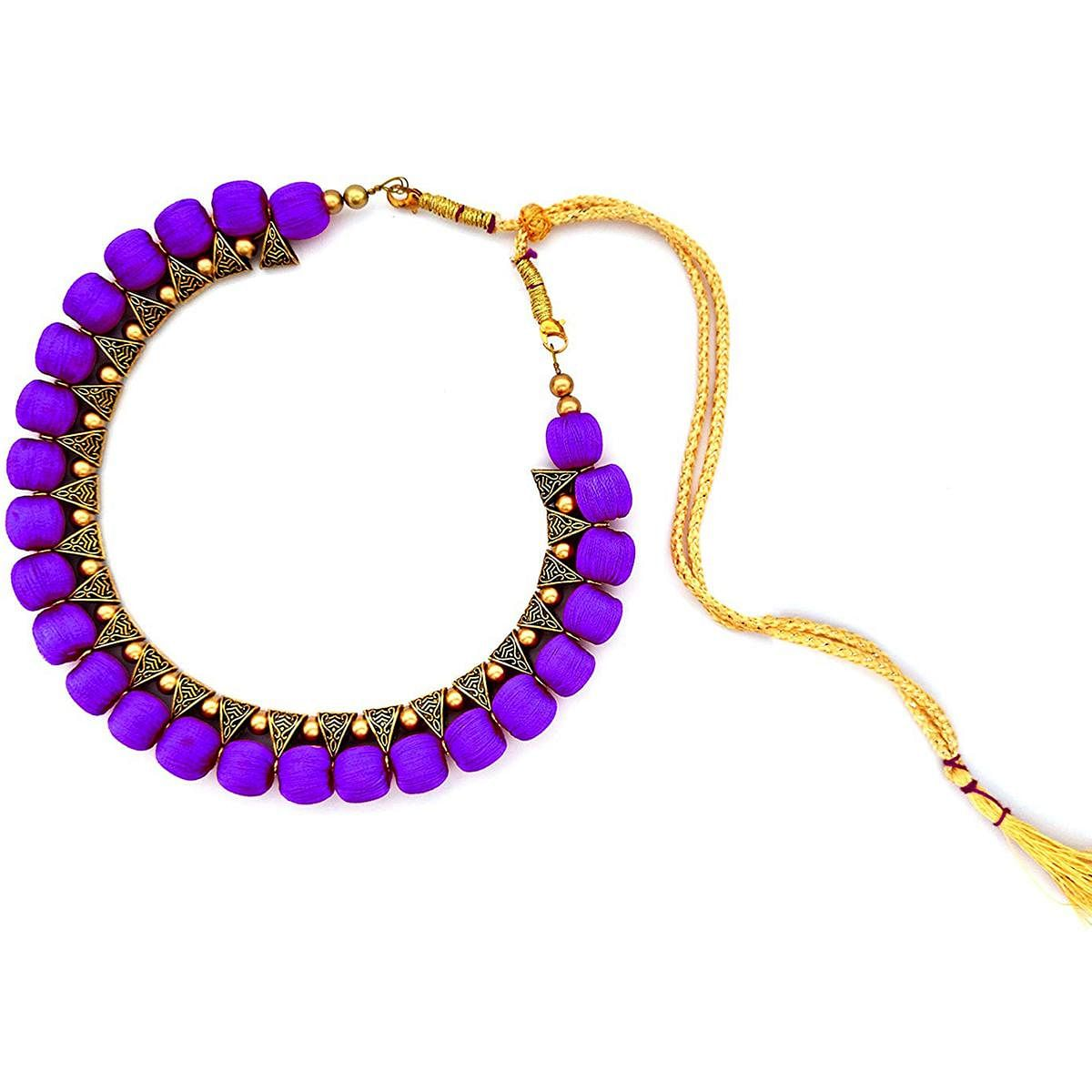 Delightful Dark Purple Colored Fancy Silk Thread & Moti Work Necklace