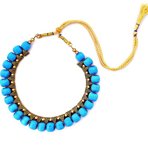 Stunning Blue Colored Fancy Silk Thread & Moti Work Necklace