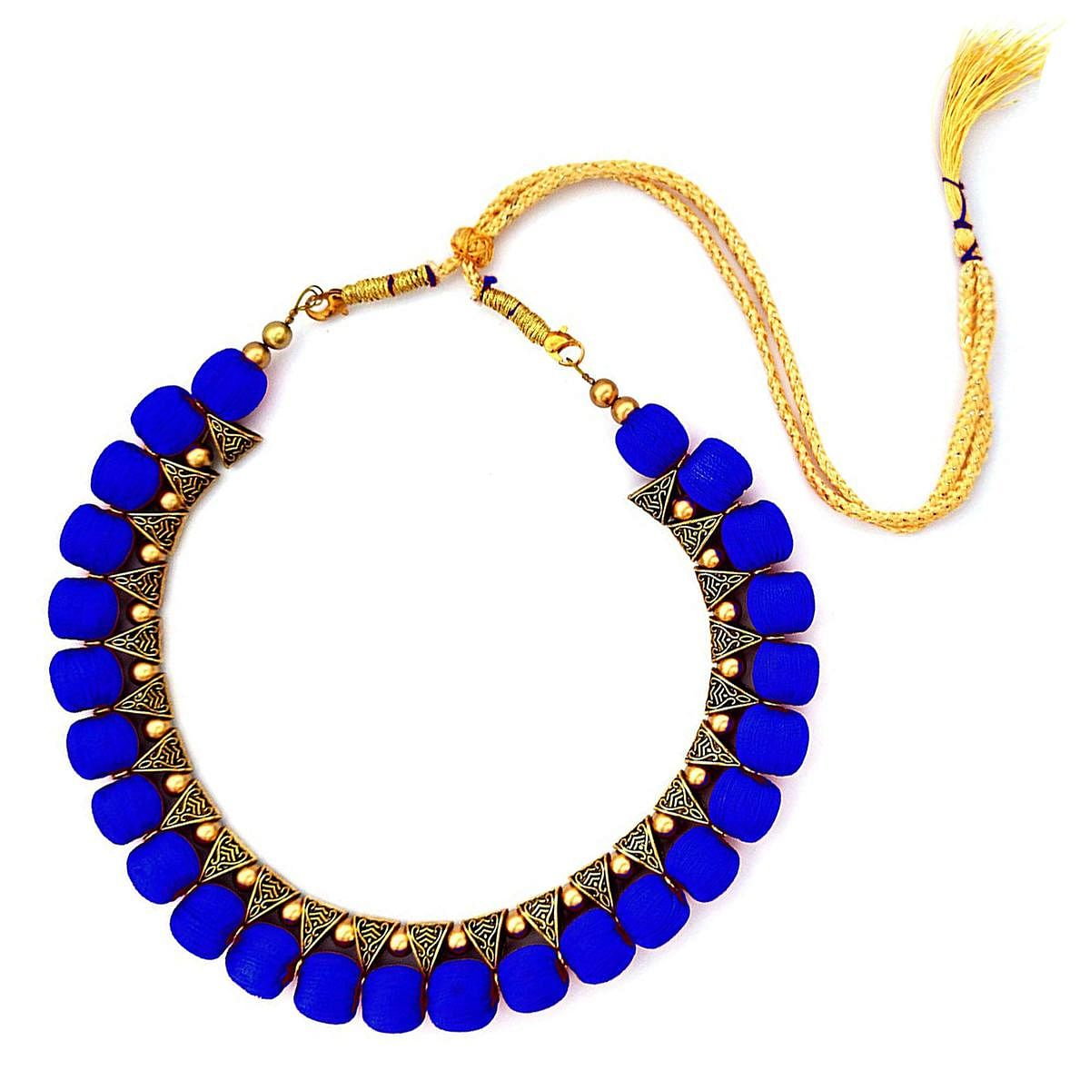 Blooming Royal Blue Colored Fancy Silk Thread & Moti Work Necklace