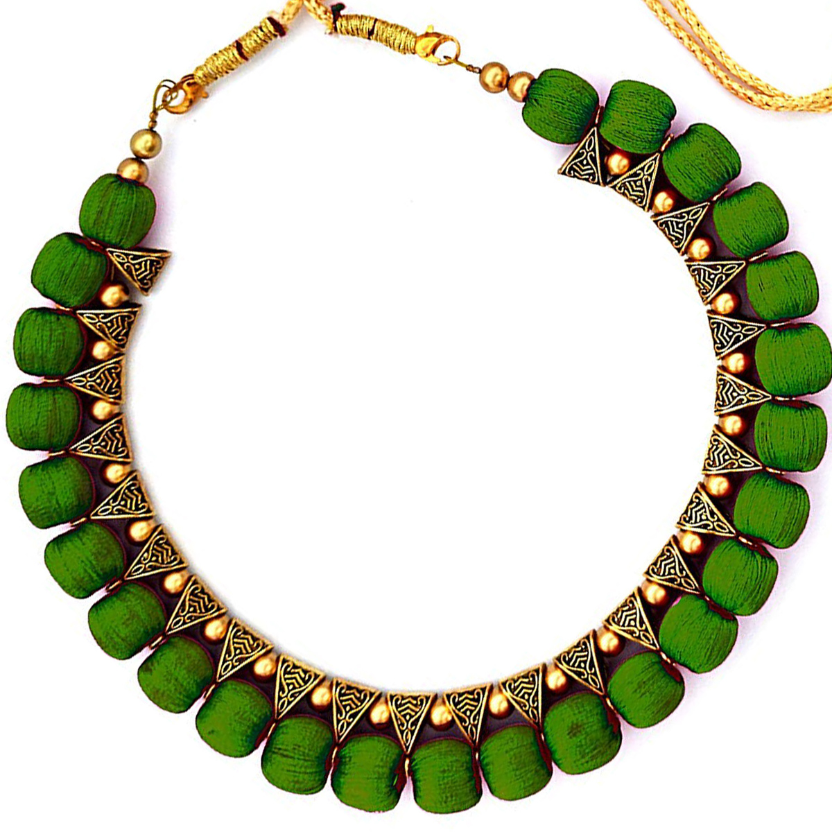 Marvellous Dark Green Colored Fancy Silk Thread & Moti Work Necklace