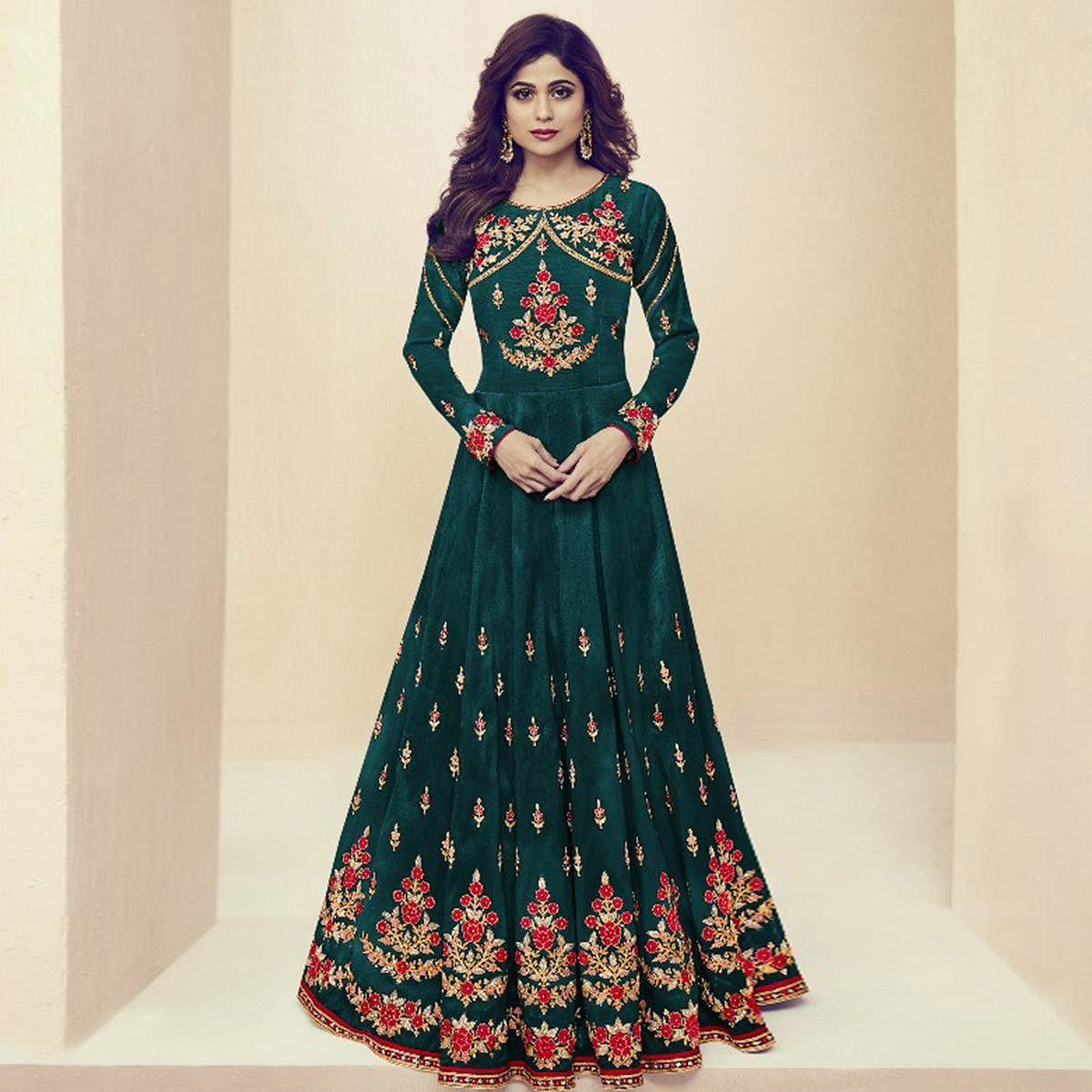 Classy Green Colored Party Wear Embroidered Silk Anarkali Suit