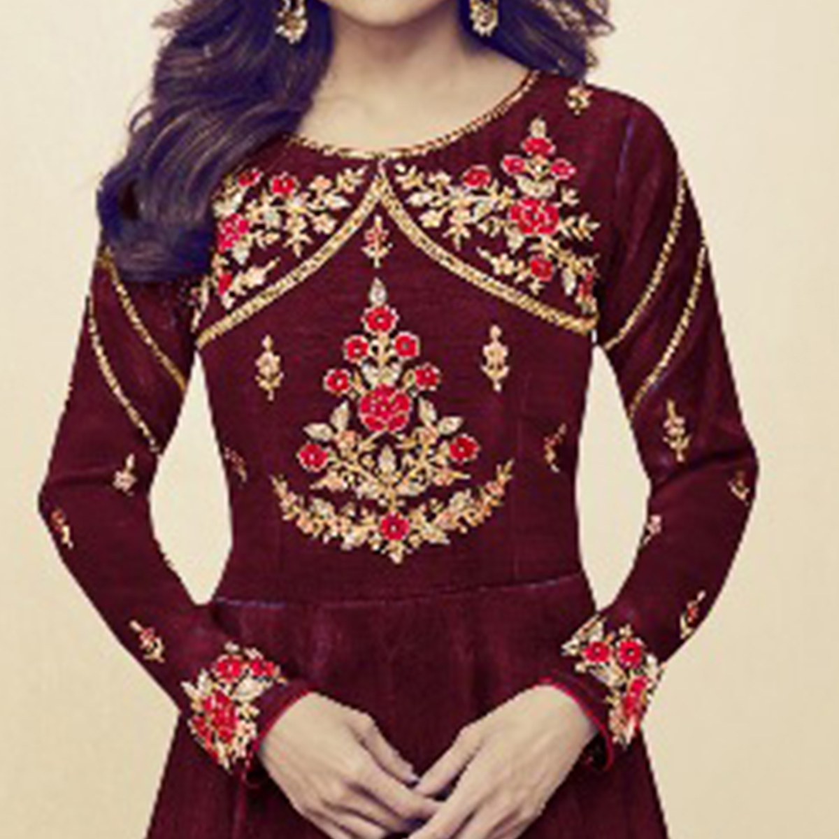 Graceful Maroon Colored Party Wear Embroidered Silk Anarkali Suit