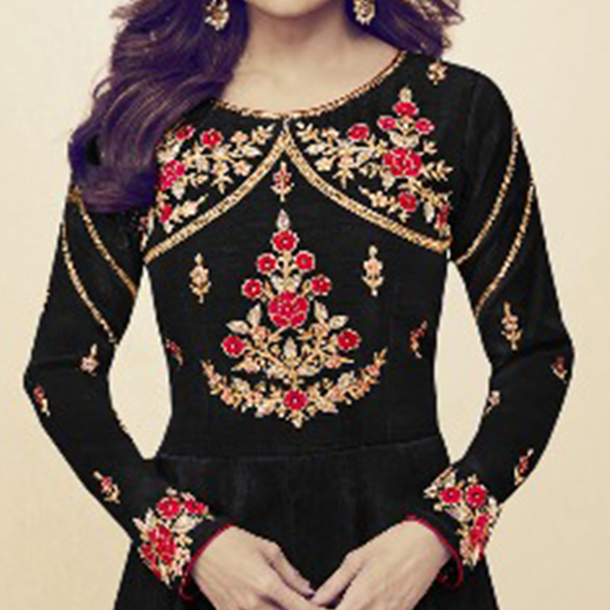 Charming Black Colored Party Wear Embroidered Silk Anarkali Suit